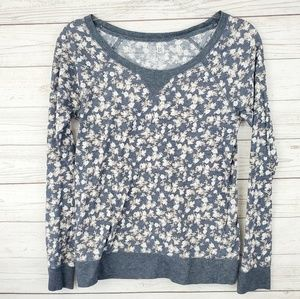 Nollie Blue & White Floral Long Sleeve Sweater